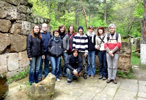 Studentengruppe aus Marburg in Ethnographischen Open Air Museum in Tbilisi