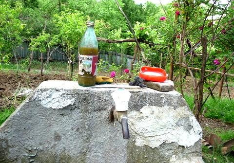 """Tq'emali in einer Borjomi-Flasche, daneben Seife. """"Waschbecken"""" in einem Haus in Imereti (Foto: Voell)"""